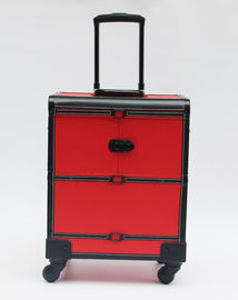 Red Makeup Profesional Artist Case, Troli Kasus Makeup Durable Dengan Roda